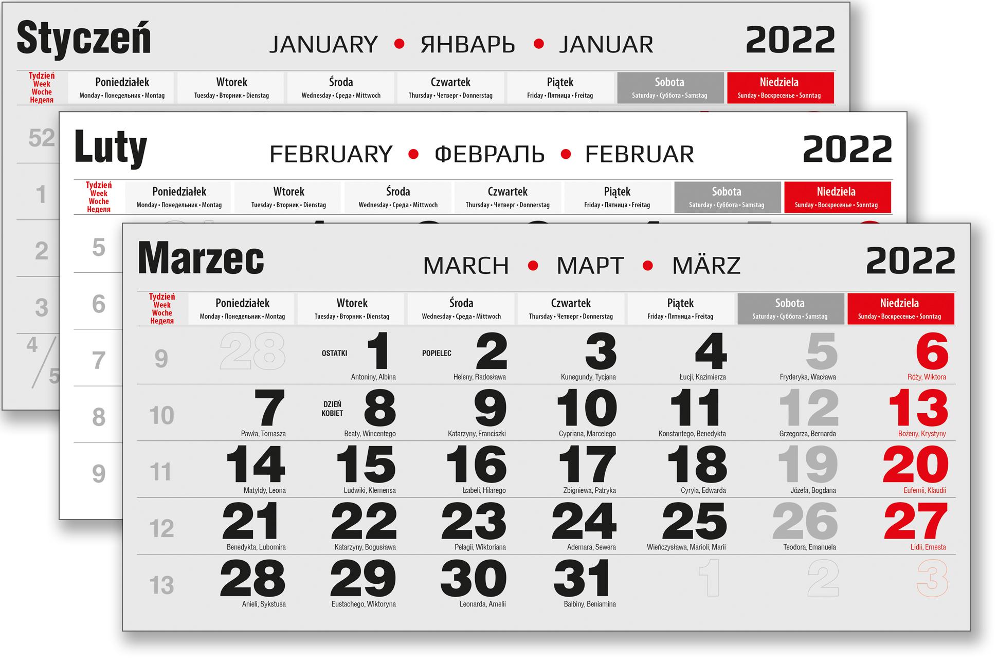 kalendarium trójdzielne zdjęcie czarne na rok 2022