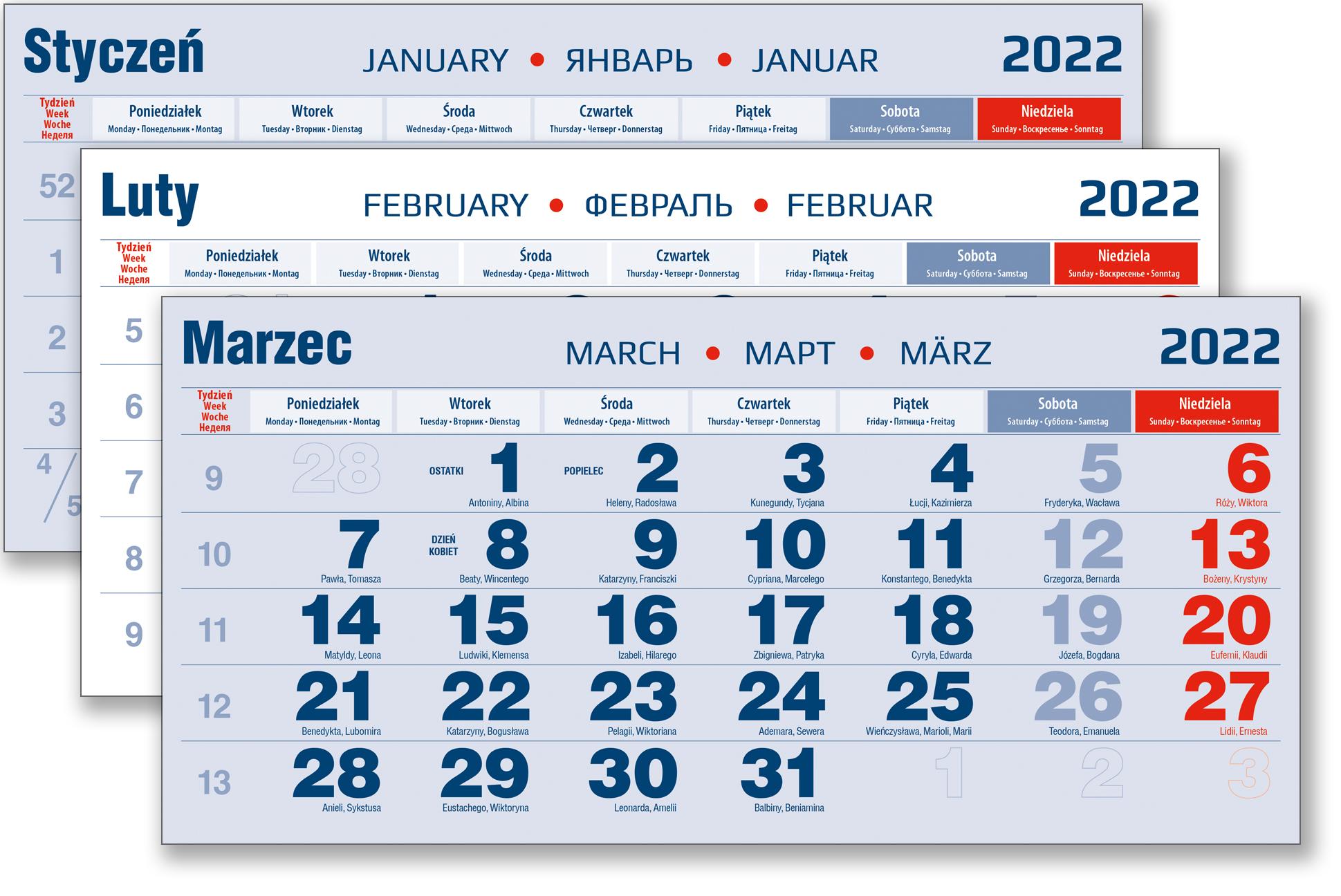 kalendarium trójdzielne zdjęcie niebieskie na rok 2022